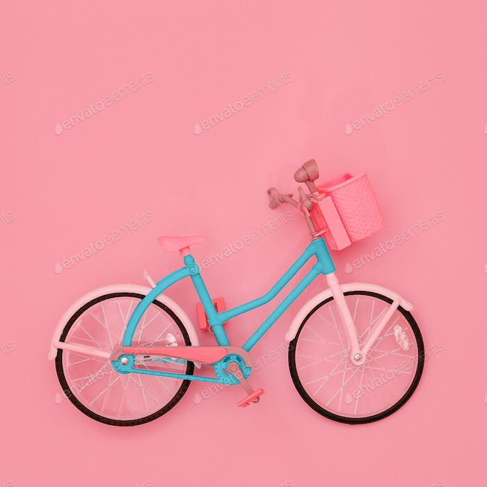 City bike toy. Minimal flat lay art