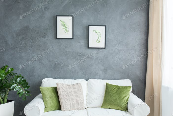 Green and white room