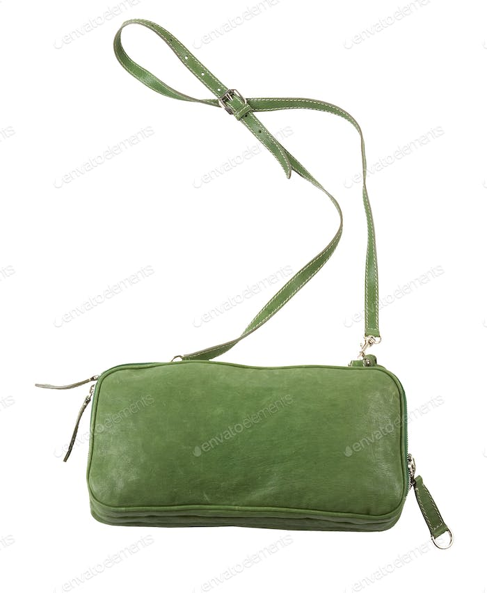 Green leather purse with shoulder strap