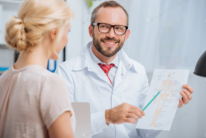 selective focus of female patient having appointment with smiling chiropractic in clinic