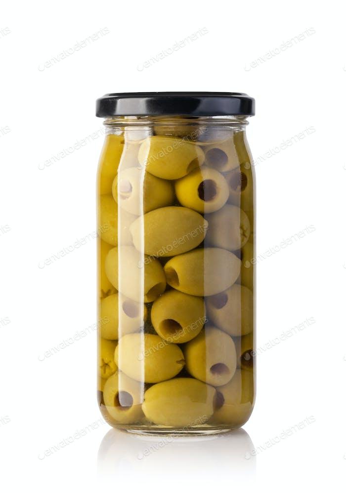 olives bottles on a white