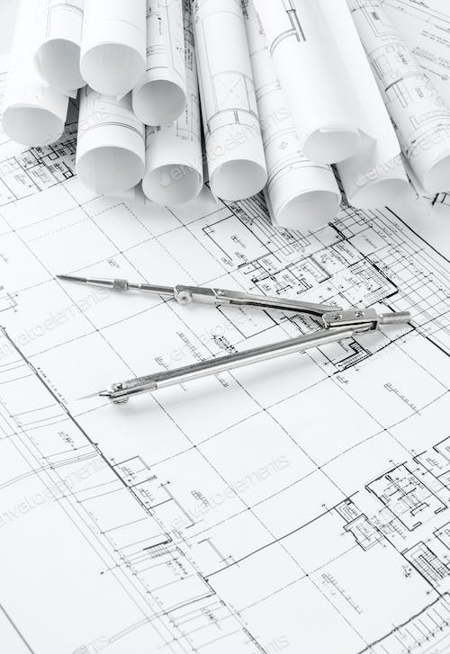 Rolls of architecture blueprints and house plans photo by rolls of architecture blueprints and house plans malvernweather Images