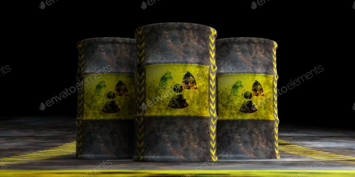 Radiation symbol on oil barrels, dark background. 3d illustration