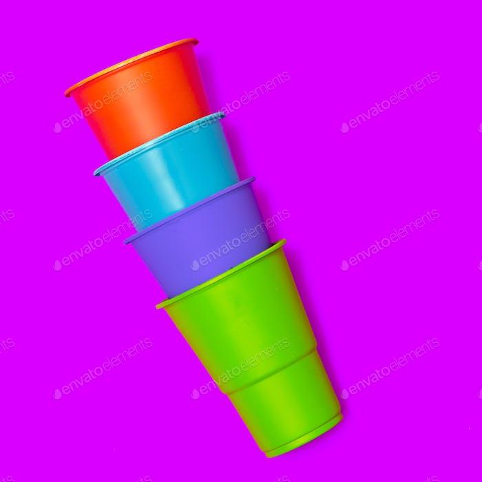 Plastic tableware. Minimal. Set Plastic cups