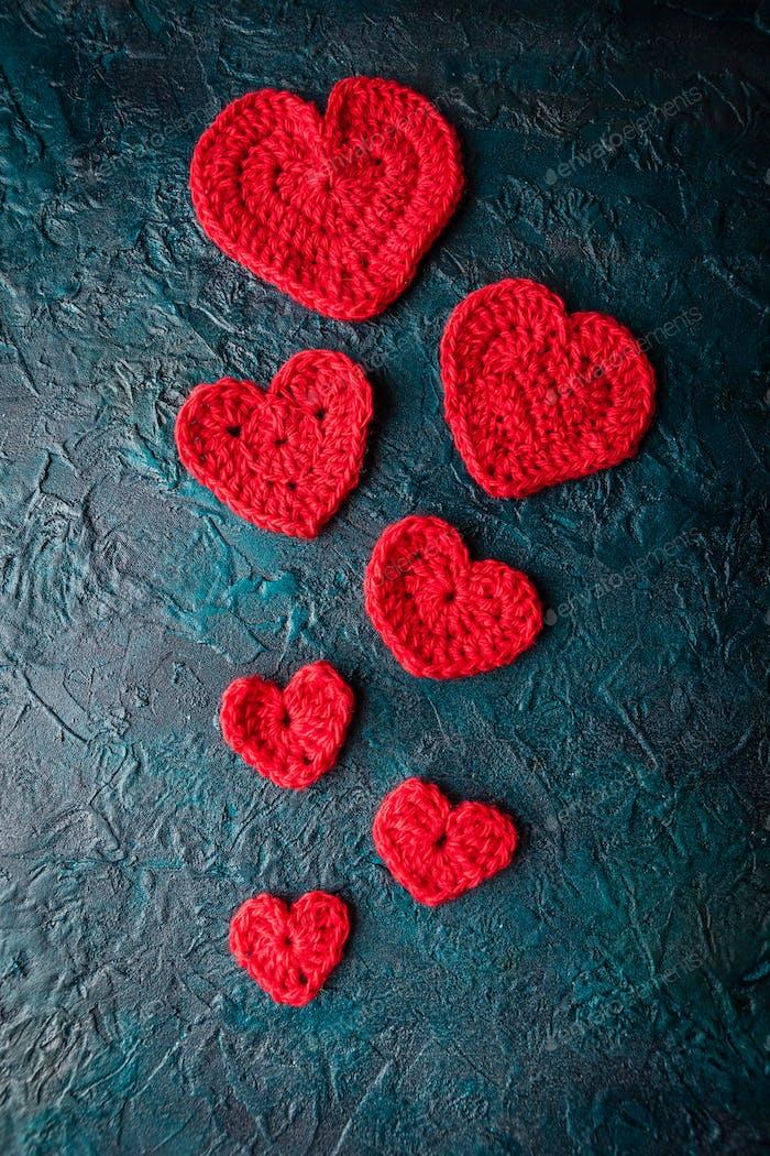 Crochet valentine hearts.