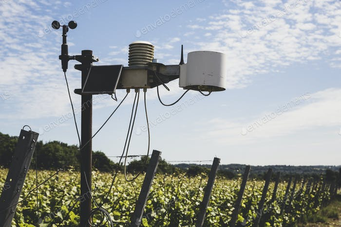 Close up of weather station on a vineyard.