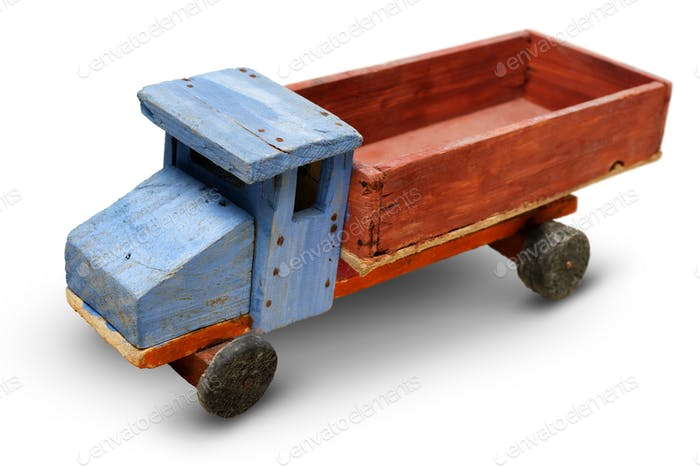 Old wooden toy, generic auto truck