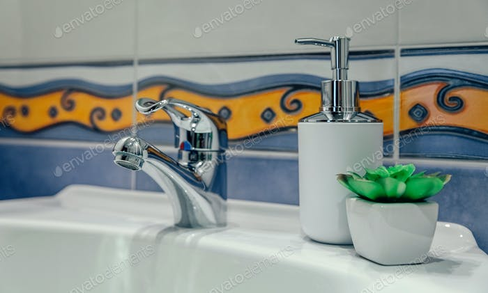 Washbasin with tap, soap dispenser and plant