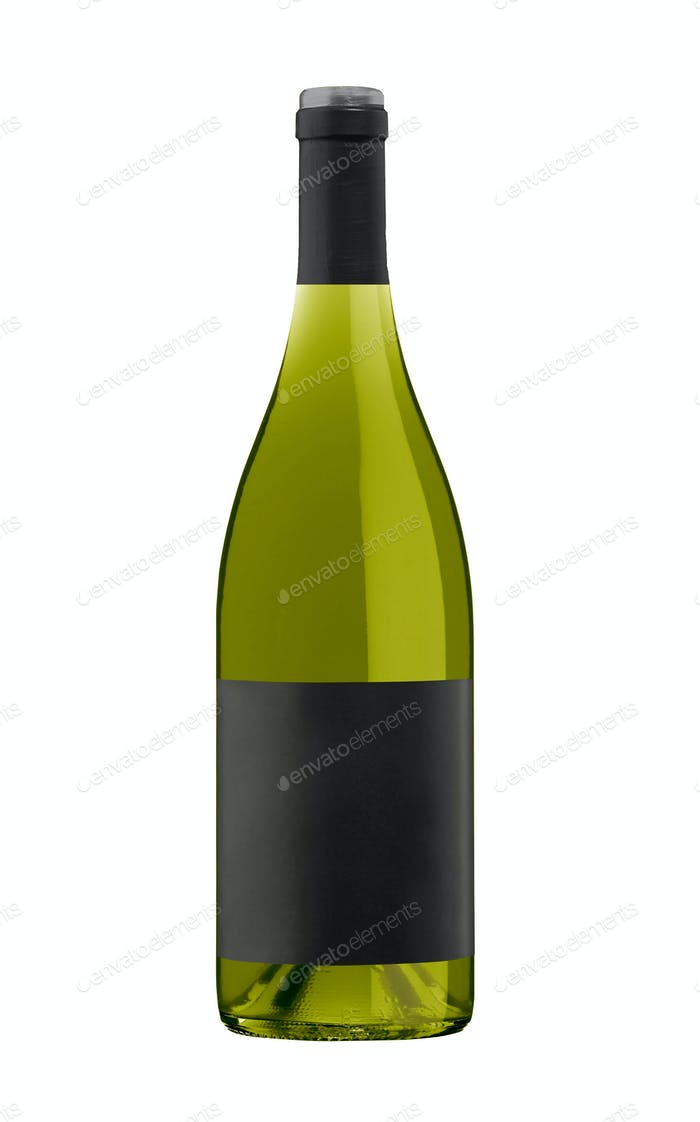 White Wine Bottle, Champagne bottle isolated on a white background