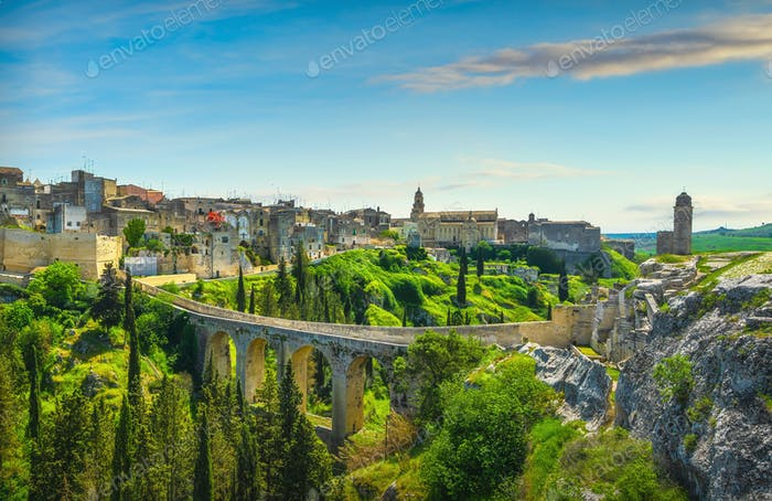 Gravina in Puglia old town, bridge and canyon. Apulia, Italy.