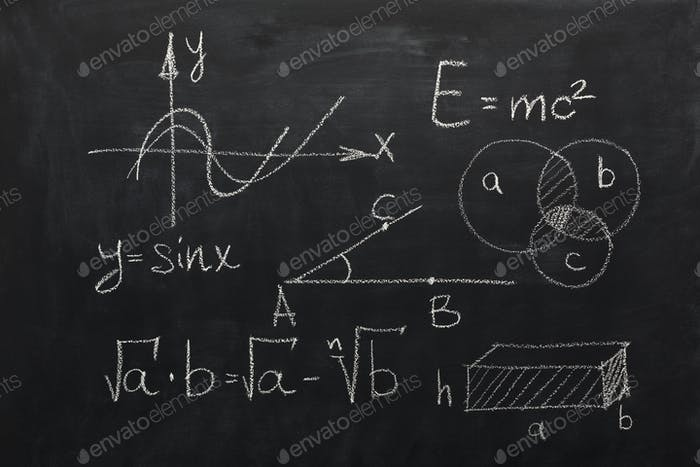 Math formulas on black chalkboard