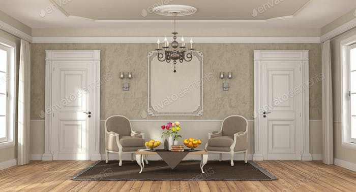 Elegant room with classic armchairs and coffee table