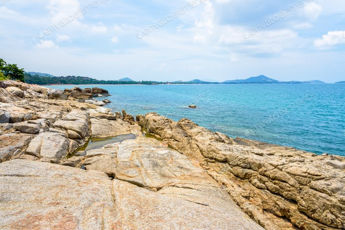 Rocks coastline and sea at Koh Samui