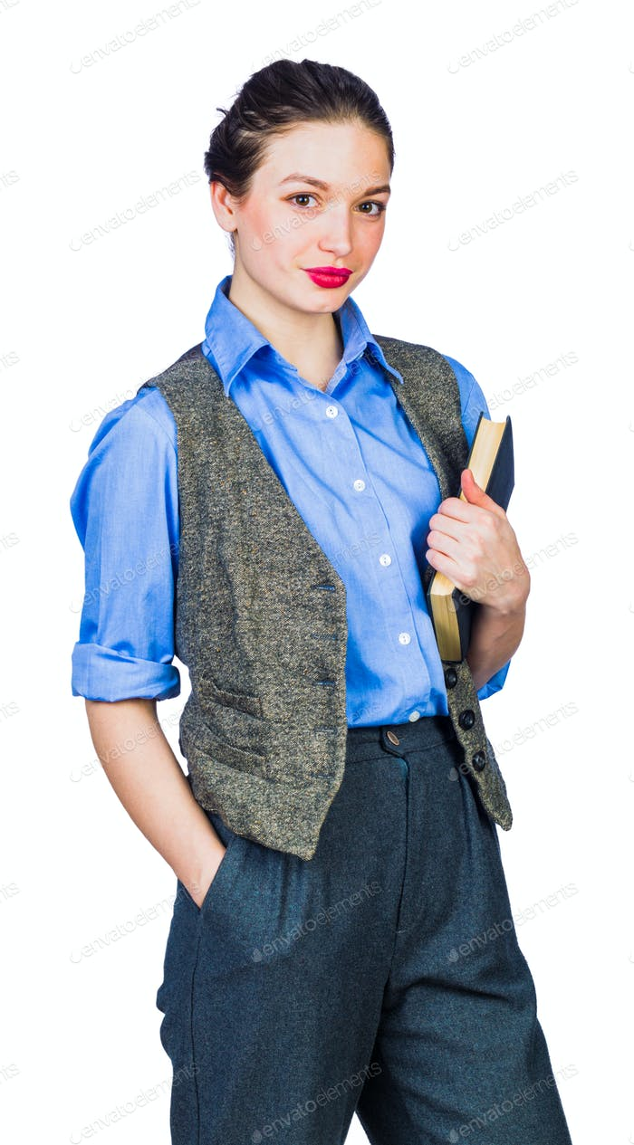 Young girl with book in hand on white background, isolate