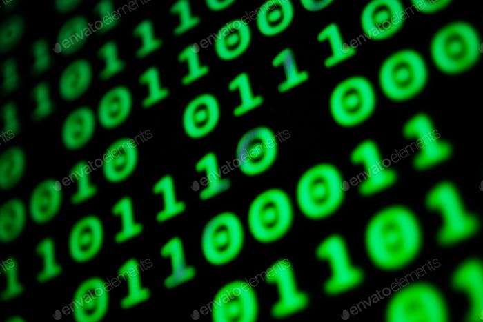 Numerical continuous code in green color, abstract web data in binary code.