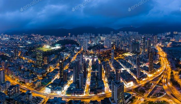 Kowloon city, Hong Kong 13 May 2019: Top view of Hong Kong city downtown at night