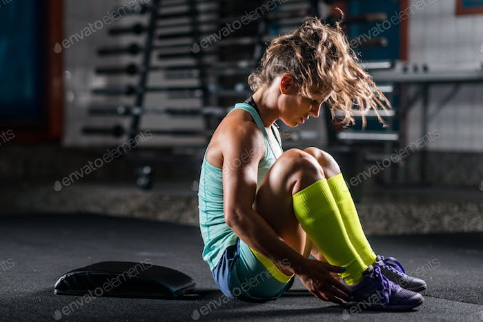 Woman athlete exercising