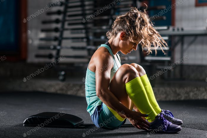 Woman athlete exercising