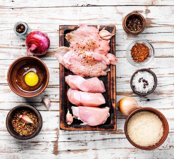 Chicken steak raw meat