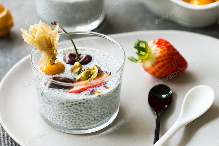 Chia with Cherry,Strawberry and Gooseberry Pudding