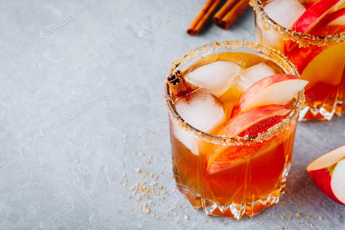 Chai spiced Apple cider cocktail for Halloween or Thanksgiving in glass