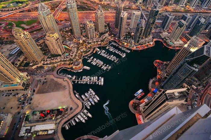 Multiple tallest skyscrapers of the world. Dubai marina, United Arab Emirates.