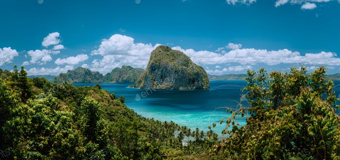 Palawan Archipelago. Panoramic shot of El Nido jungle coastline and amazing tropical Pinagbuyutan