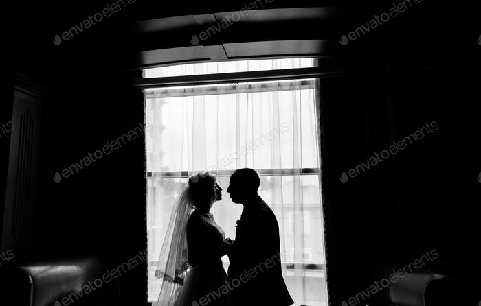 Silhouette of wedding couple
