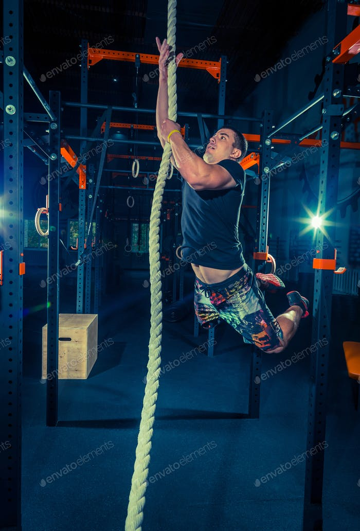 Crossfit athlete with a rope