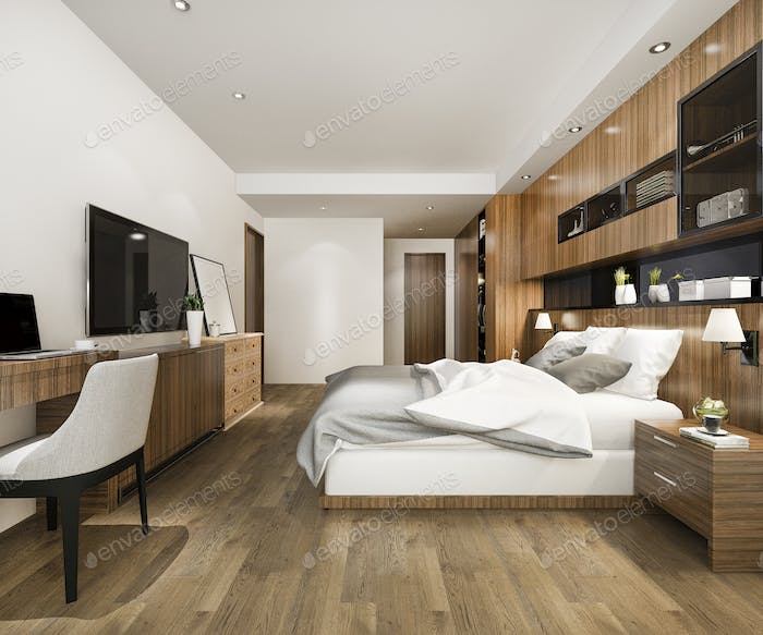 3d rendering beautiful luxury bedroom suite in hotel with tv and working table