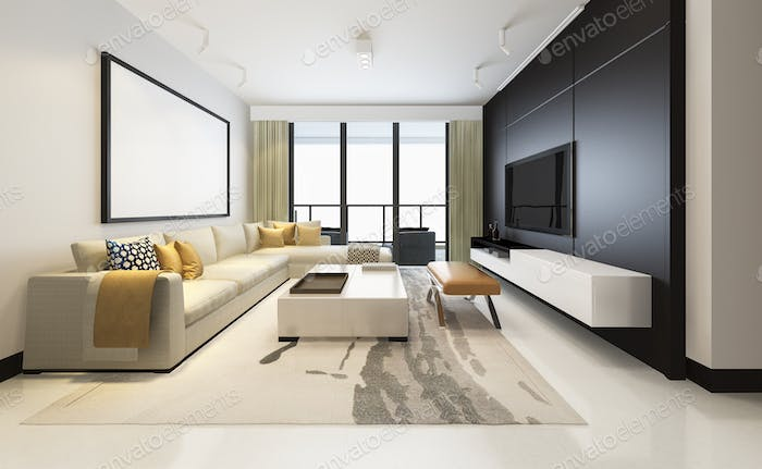 3d rendering luxury and modern living room with fabric sofa with mock up frame