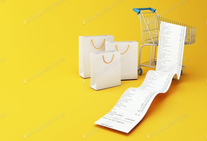 3d Bags and Shopping cart with store receipt