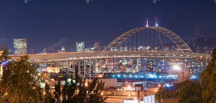 Freemont Bridge Night Lights Portland Oregon Downtown City Skyli