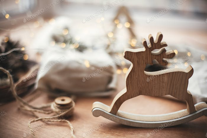 Rustic reindeer christmas toy on wooden table