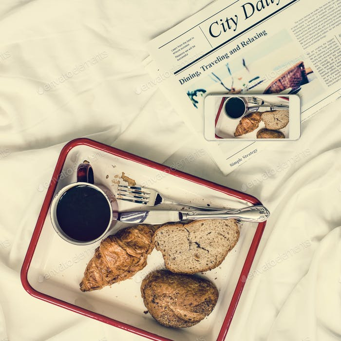 Coffee Americano Espresso Newspaper Breakfast in Bed Concept