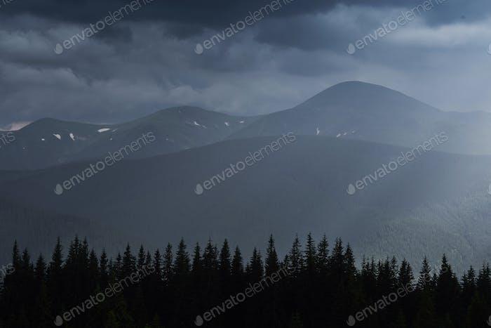 Scenic mountains landscape after rain. Carpathians of Ukraine