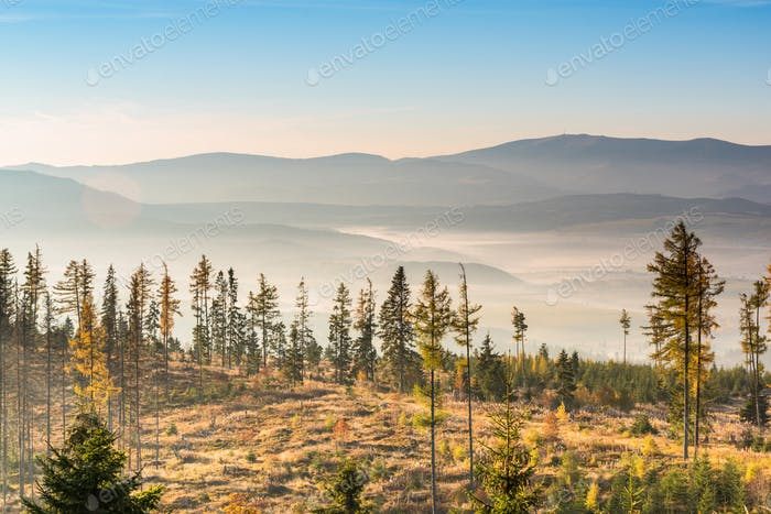 View over valley in high Tatra mountains with autumn morning fog