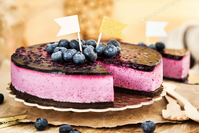 Delicious homemade blueberry cheesecake decorated with jelly