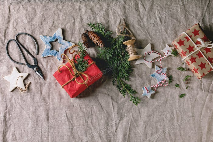 Christmas stars and gifts