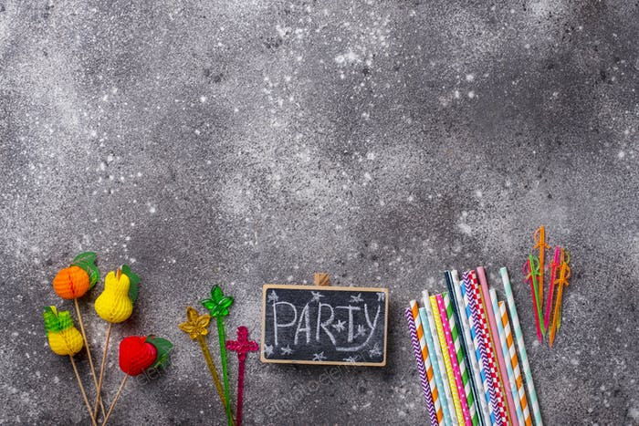 Colorful items for summer party