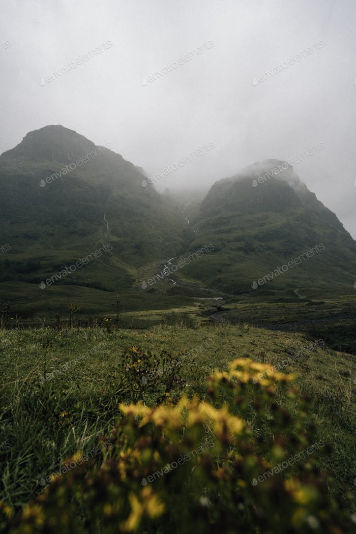 Mist and terrain at Glen Etive, Scotland