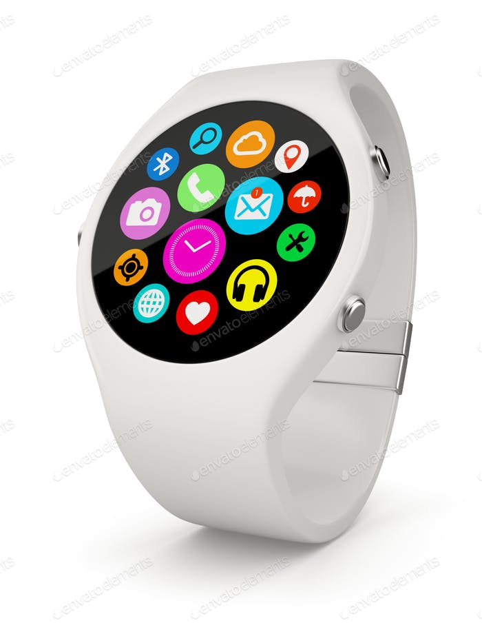 White round smart watch on white background