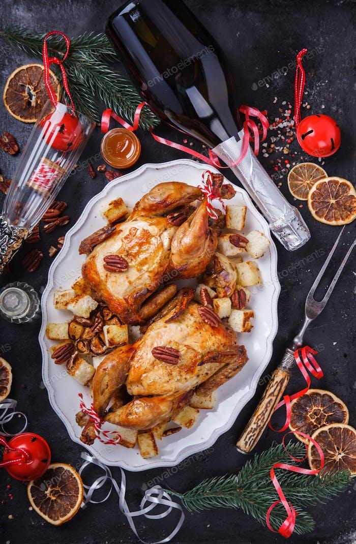 Gebackenes Huhn Abendessen für Weihnachten