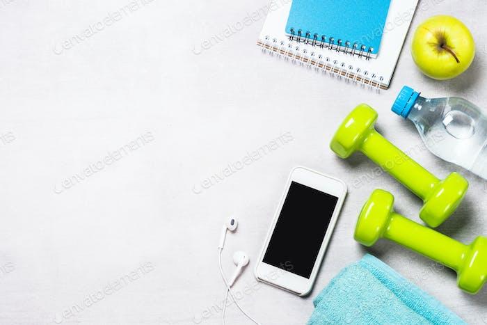 Fitness und gesundes Lifestyle-Konzept flatlay.