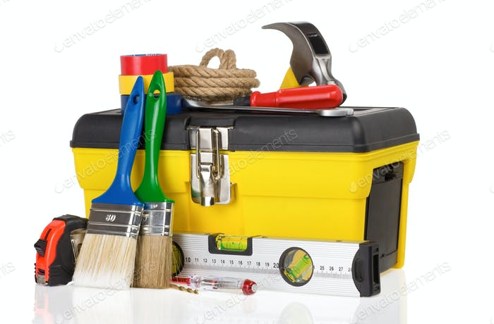 set of tools and instruments in toolbox on white