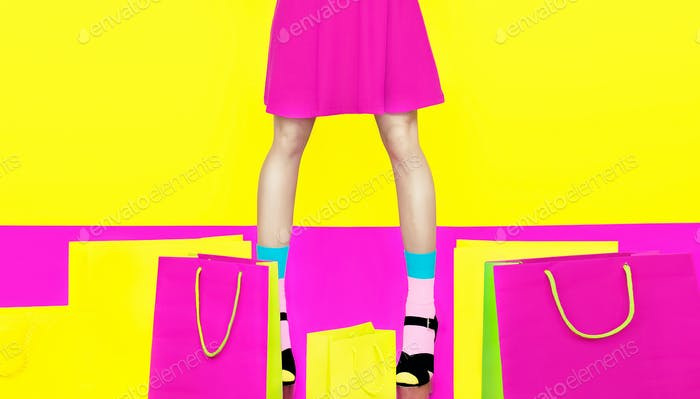 girl legs colorful crazy shopping