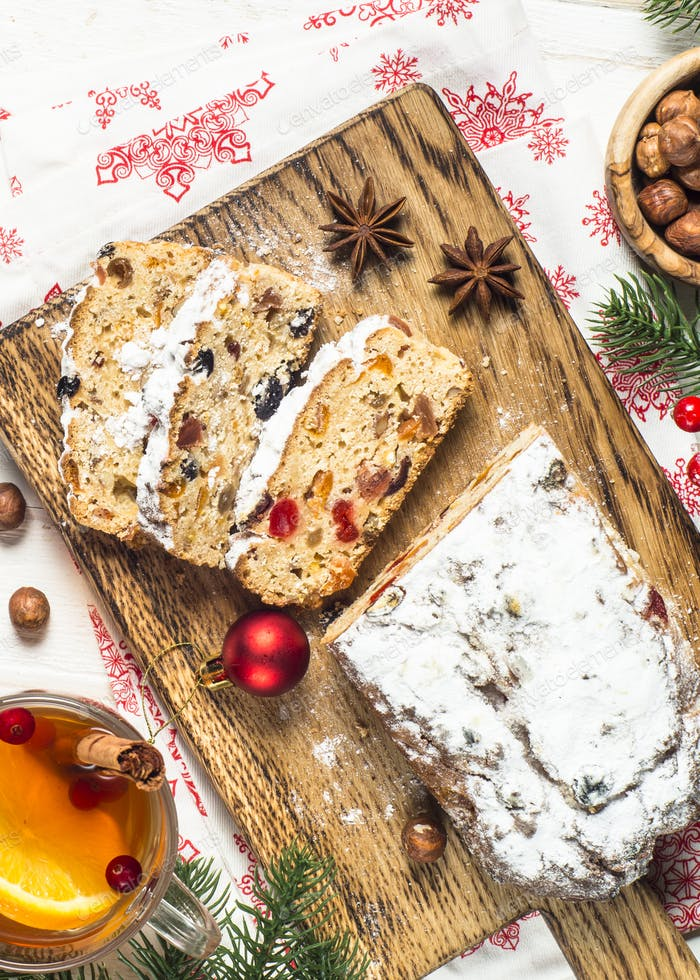 Stollen traditional Christmas ftuitcake with dried fruit and nut