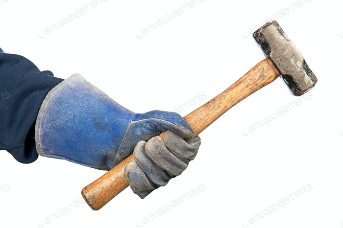 Man swinging hammer