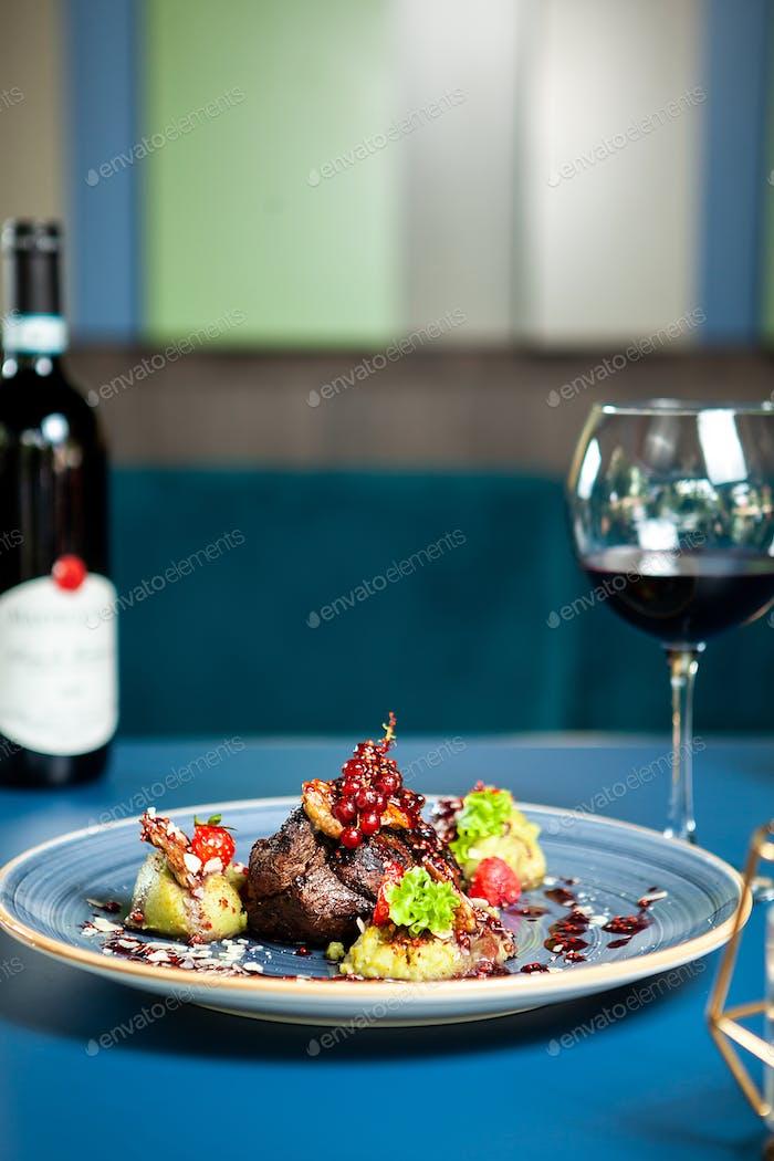Fine cuisine in luxury lounge