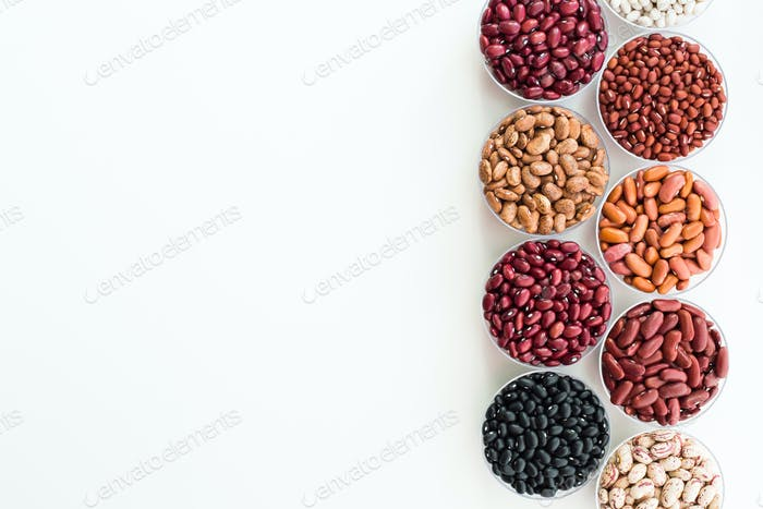 Different seed beans in round plates are arranged in a row.
